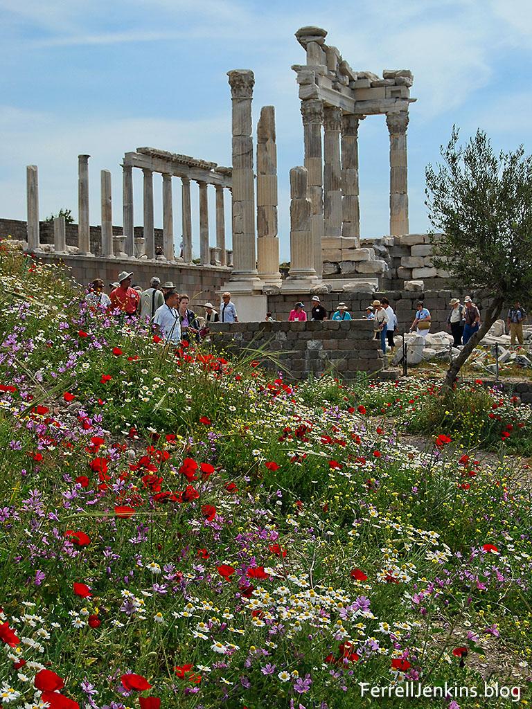 Reconstructed temple of Emperor Trajan in Pergamum. FerrellJenkins.blog.