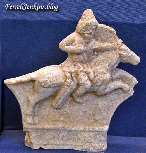 A ceramic plaque of a mounted archer from Parthia. British Museum. Photo by Ferrell Jenkins.