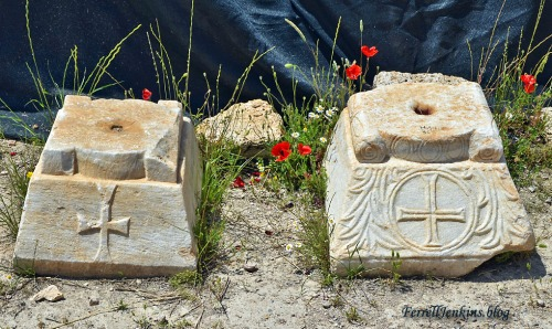 Crosses on column bases in the Martyrium of Philip at Hierapolis. Photo by Ferrell Jenkins.