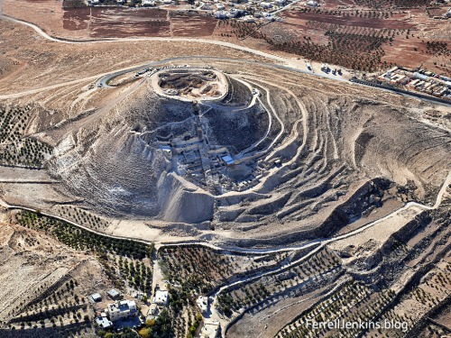 This aerial photo of the Herodium was made in 2009. The ring was found in the garden inside the fortress built by Herod the Great. Photo by Ferrell Jenkins.
