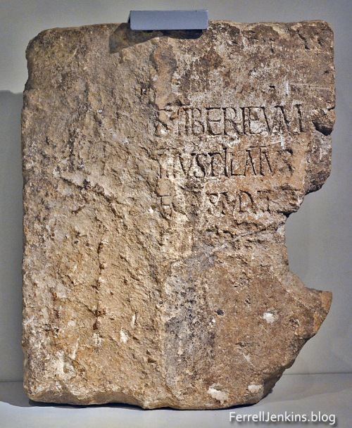 Pilate inscription discovered at Caesarea in 1961. Photo of the original in the Israel Museum. FerrellJenkins.blog.