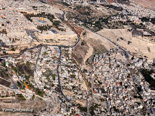 Aerial view of the Temple Mount, the Ophel, and the City of David. Photo: FerrellJenkins.blog.