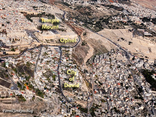 Aerial photo of the Temple Mount, the Ophel, and the City of David with identification. Photo: FerrellJenkins.blog.