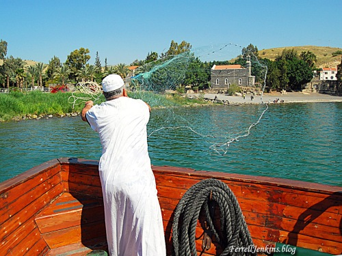 Fisherman casting net on the Sea of Galilee. FerrellJenkins.blog.
