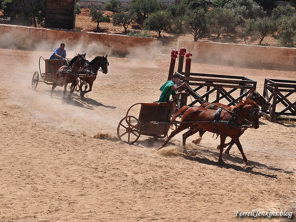 The chariot race, part of the Roman Army and Chariot Experience at Jerash, Jordan. FerrellJenkins.blog.