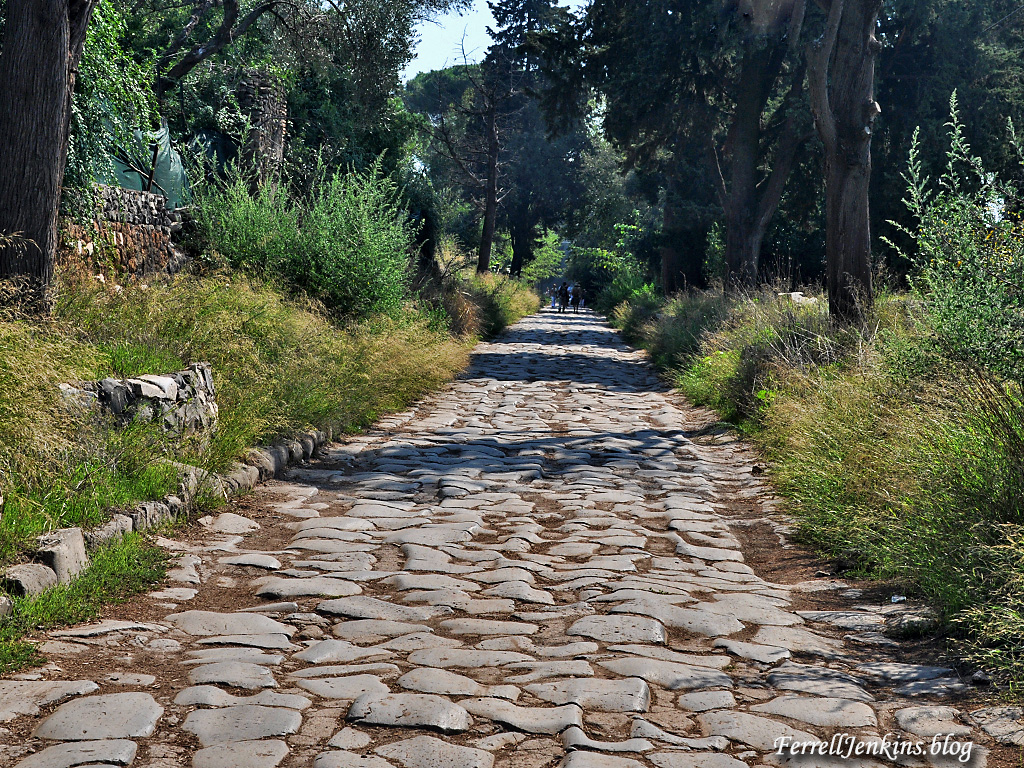 Remains of the Appian Way on the outskirts of Rome. Photo: ferrelljenkins.blog.