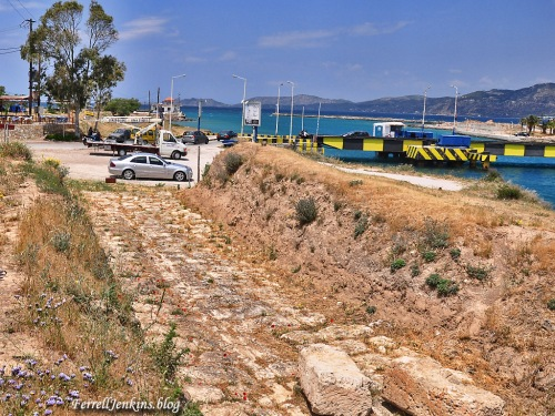 A portion of the Ancient Diolkos and the entrance to the modern Corinth Canal on the Gulf of Corinth. Photo: ferrelljenkins.blog.