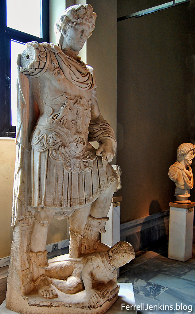 Roman Emperor Hadrian with foot on an enemy. Istanbul Archaeological Museum. Photo: ferrelljenkins.blog.