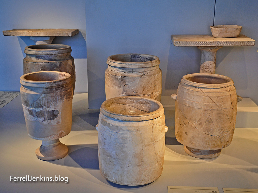 Large jars for water of purification in the Israel Museum.