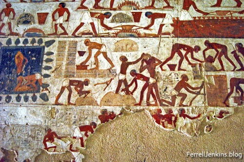 Brick Making from the Tomb of Rekhmire in the Valley of the Nobles. Photo: ferrelljenkins.blog.