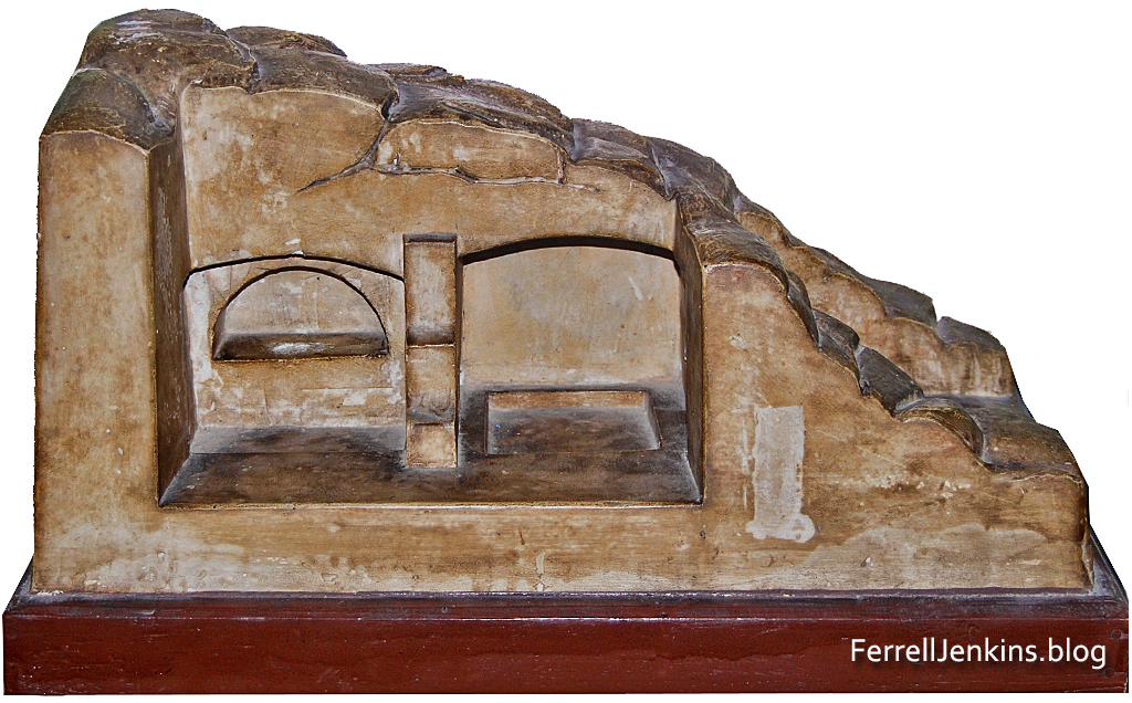 Model of the tomb at the Church of the Holy Sepulchre. From the Franciscian Museum, Jerusalem.
