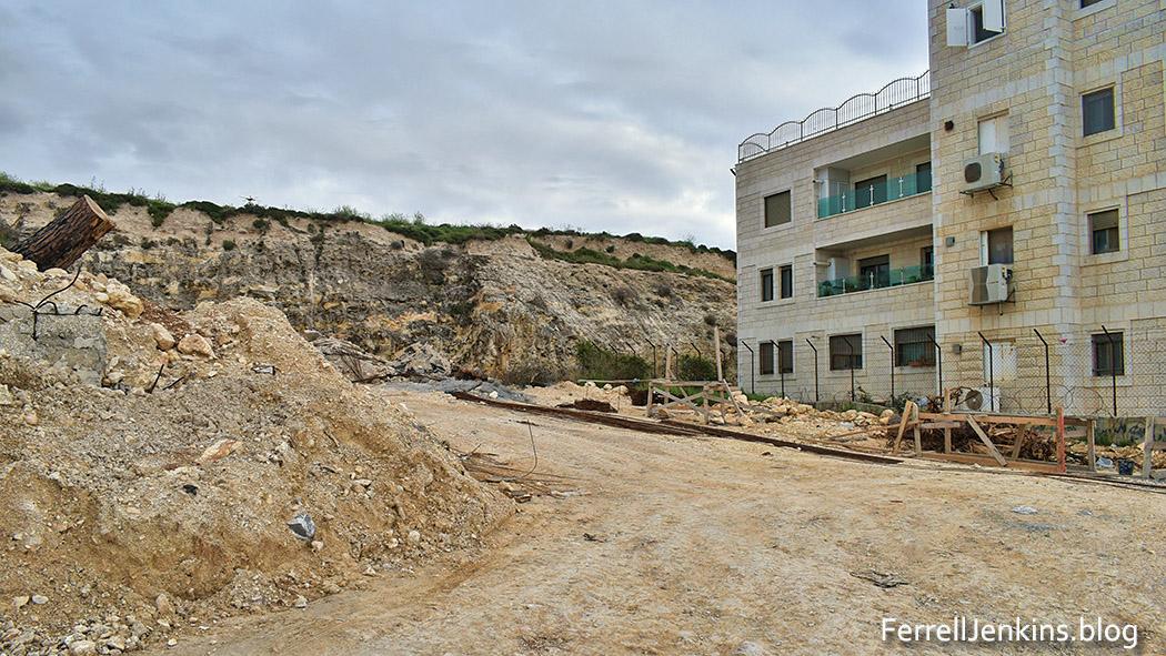 Construction in progress on the mound of ancient Gibeah. Photo: ferrelljenkins.blog.