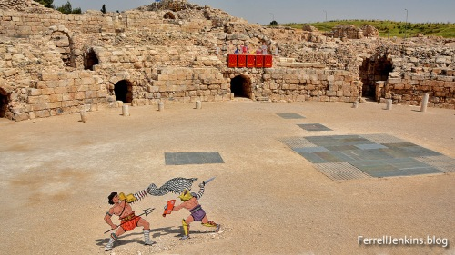 Gladiators at Bet Guvrin keep their distance from each other. Photo: ferrelljenkins.blog.
