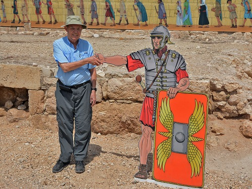 Ferrell Jenkins greeted by Roman soldier at Bet Guvrin. Photo by Leon Mauldin/Ferrell Jenkins.