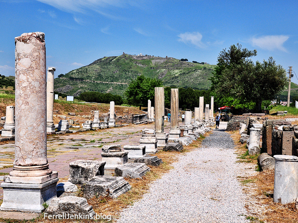 Pergamum Ascleipium with citadel in distance. Photo: ferrelljenkins.blog.