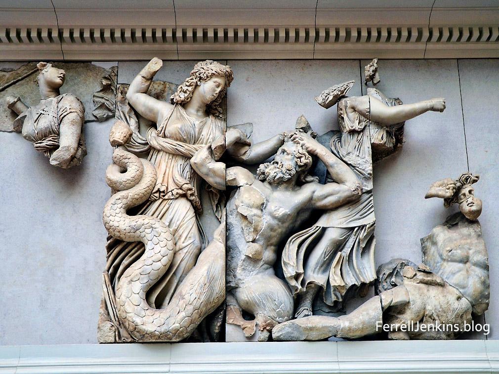 Reliefs from Zeus Altar, Pergamum. Berlin. Ferrelljenkins.blog.